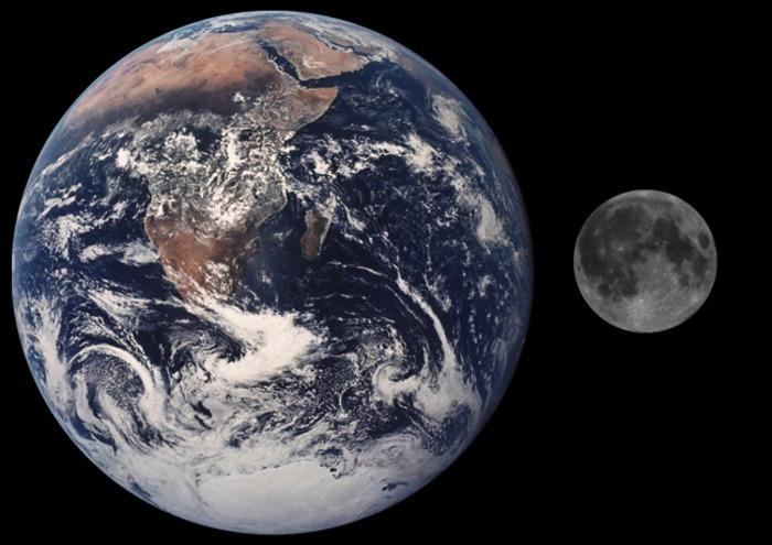 Moon and Earth