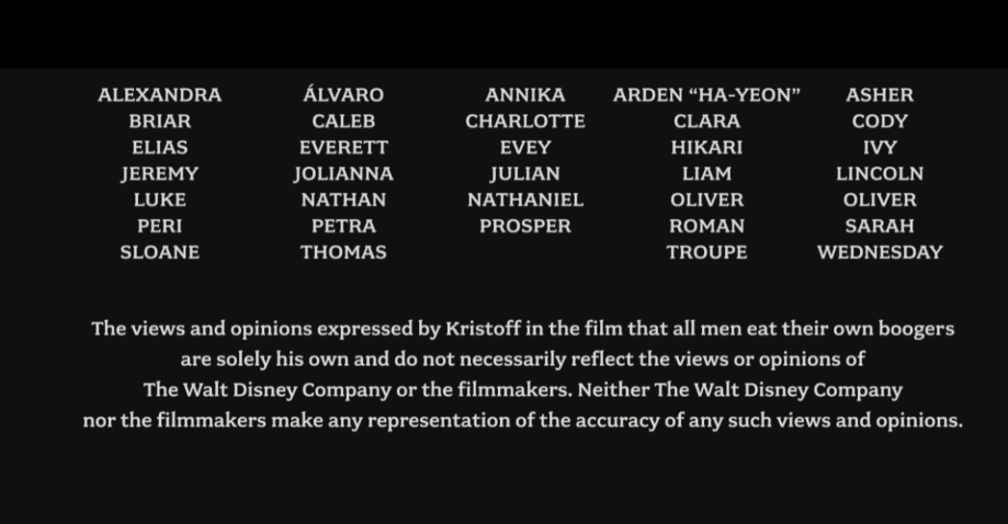 Frozen's end credits