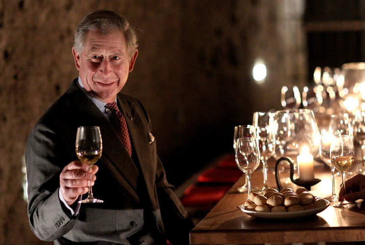 prince charles drinking wine