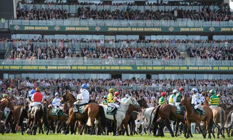 Horses at the Grand National start