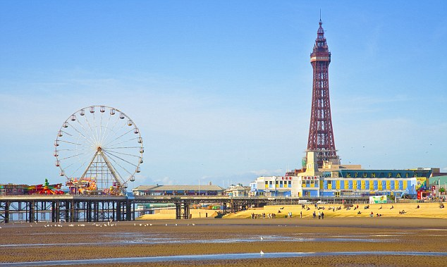 Blackpool Tower and beach at low tide