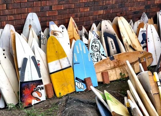 broken surfboards