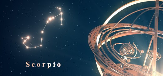 Zodiac Constellation Scorpio And Armillary Sphere Over Blue Background. 3D Illustration.