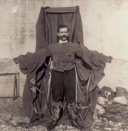 Flying parachute suit