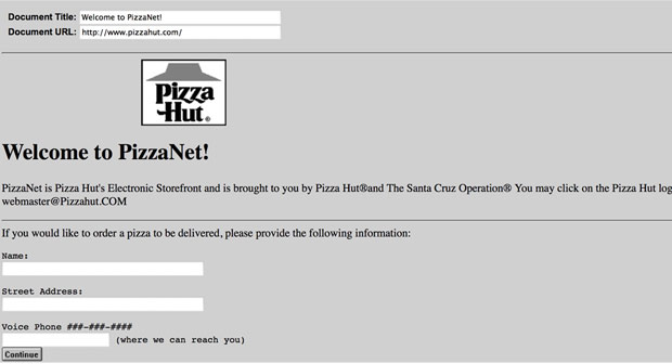 first online pizza order
