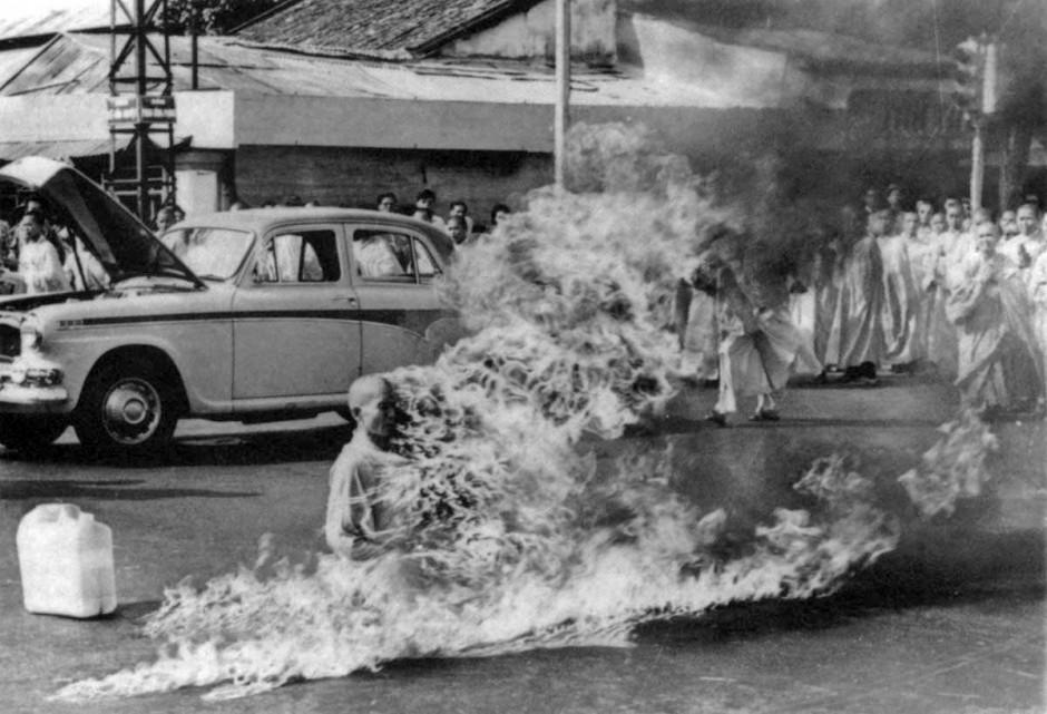 buddist monk on fire