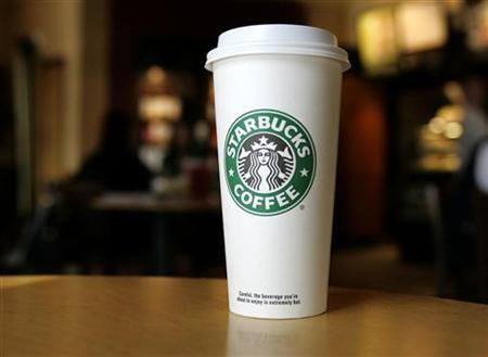 A cup displaying the Starbucks Coffee logo is pictured at one of the coffee chain's store in Boca Raton, Florida