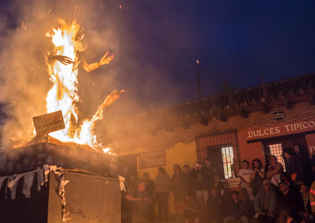 burning devil effigy