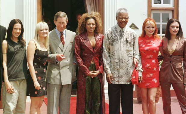 the Spice Girls with Nelson Mandela