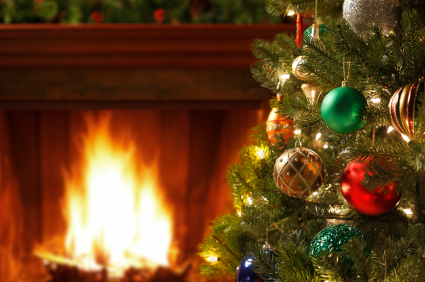 Christmas tree by fire
