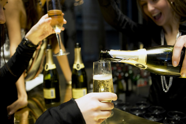 champagne poured at a party