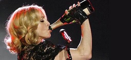 Madonna swigging champagne