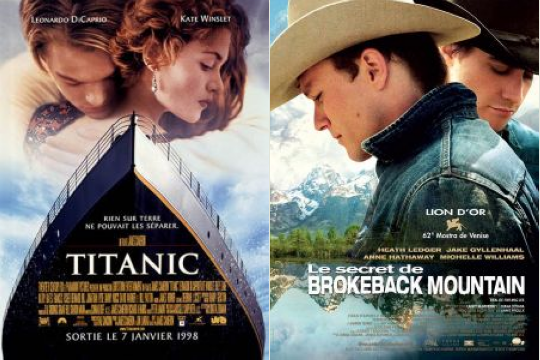 Posters for Brokeback Mountain and Titanic